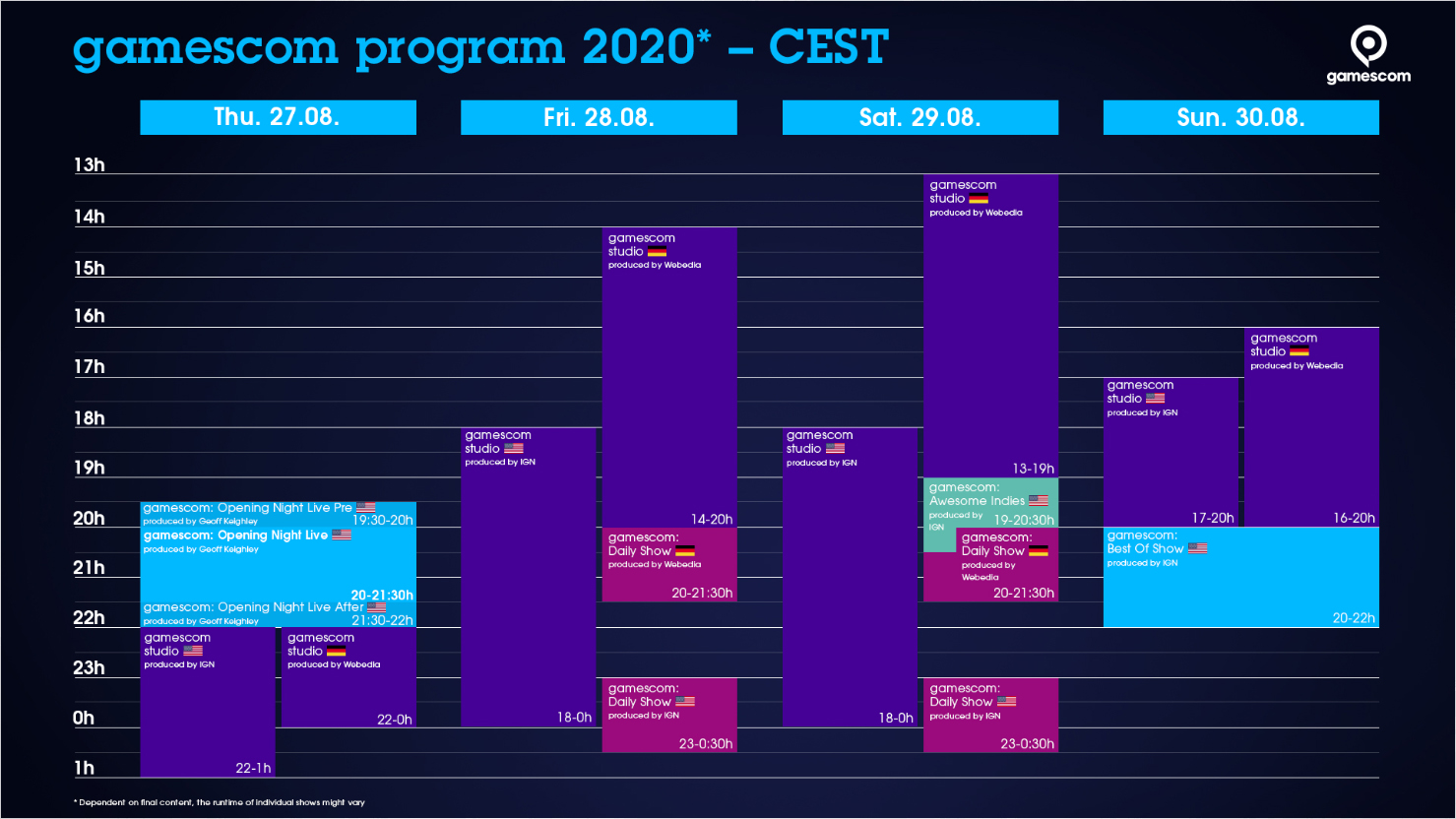 gamescom 2020 : Planning
