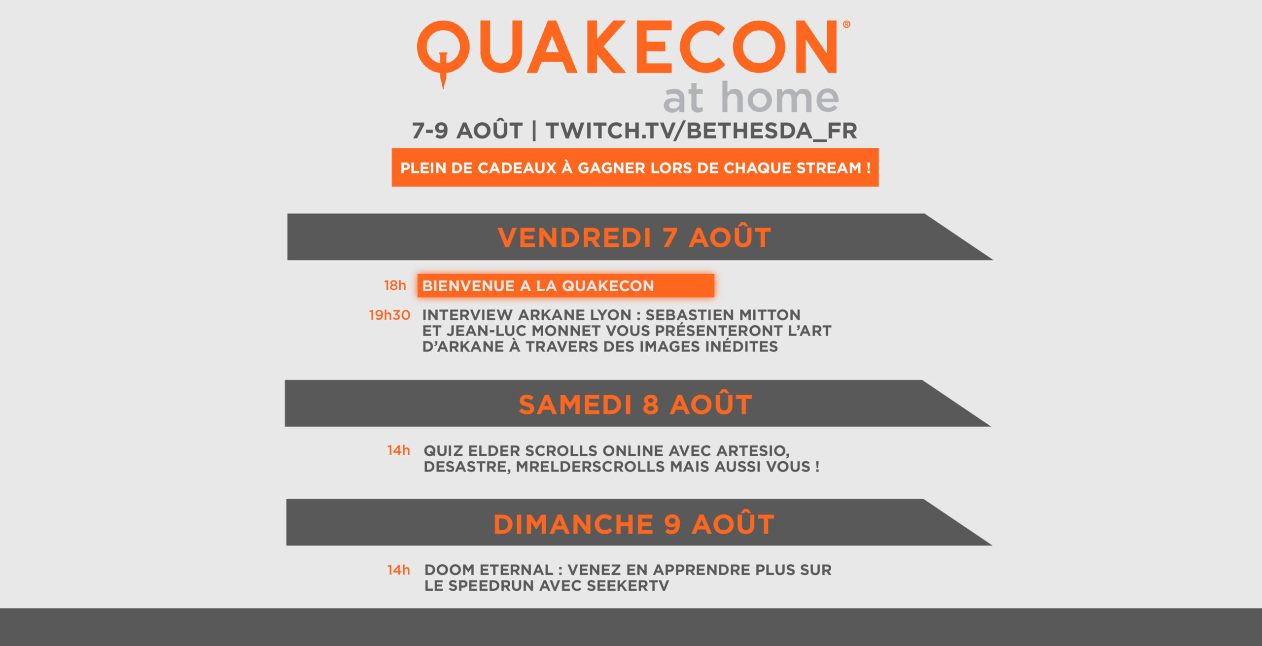 Quakecon at Home 2020 : Programme